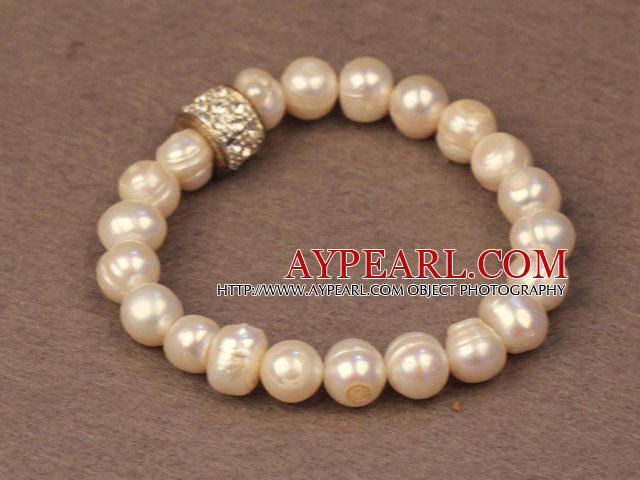 Simple Chic Style Natural White Freshwater Pearl Elastic Bracelet With Rhinestone Accessory
