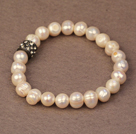 Simple Chic Style Natural White Freshwater Pearl Elastic Bracelet With Black Rhinestone Accessory