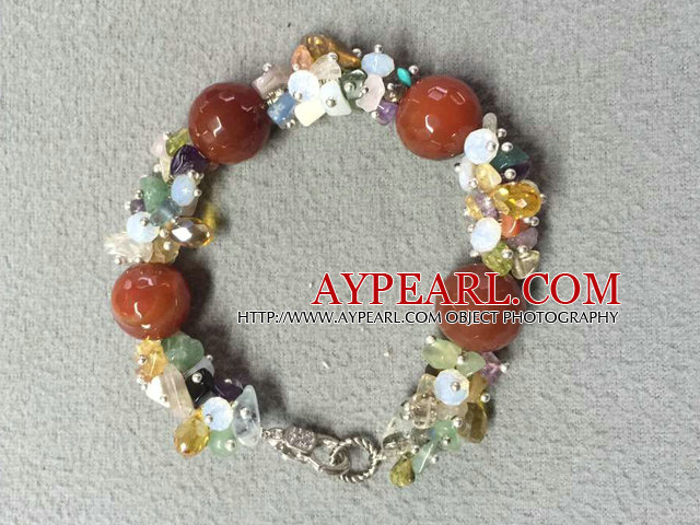 Hot Sale Popular Round Red Agate Beads Cluster Crystal Genstone Chipes Bracelet