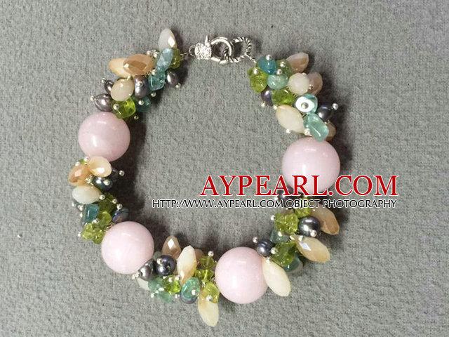Hot Sale Popular Round Pink Jade Beads Cluster Black Pearl Crystal Olivine Stone Chipes Bracelet