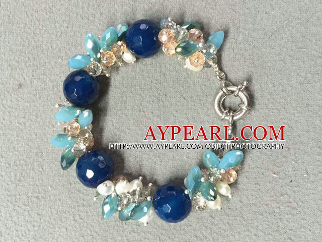 Hot Sale Popular Round Deep Blue Agate Beads Cluster White Pearl Crystal Chipes Bracelet