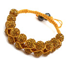 fashion layer style 10mm yellow rhinestone woven adjustable yellow drawstring bracelet