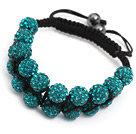 beautiful layer 10mm bluish green woven adjustable black drawstring bracelet