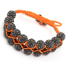 fashion layer style 10mm gray rhinestone woven adjustable orange drawstring bracelet