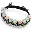 fashion layer 10mm AB color rhinestone woven adjustable black drawstring bracelet