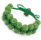 nice layer style 10mm olive green rhinestone woven adjustable green drawstring bracelet