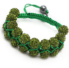 fashion layer style 10mm yellow olive color rhinestone woven adjustable green drawstring bracelet