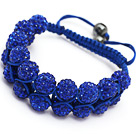 elegant layer style 10mm dark blue rhinestone woven adjustable blue drawstring bracelet