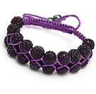 nice layer style 10mm purple rhinestone woven adjustable purple drawstring bracelet