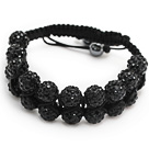 nice layer style 10mm black rhinestone woven adjustable drawstring bracelet