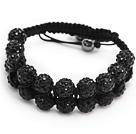 nice layer style 10mm black rhinestone woven adjustable drawstring bracelet