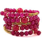 Classic Multilayer Round Rose Agate And Golden Tube Charm Beaded Bangle Bracelet