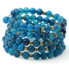 Fashion Multilayer 8mm Round Blue Agate And Golden Charm Beaded Bangle Bracelet