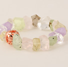 Beautiful Incidence Angle Prehnite White Crystal Amethyst And Rose Quatz Bangle Bracelet With Golden Ball
