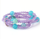 Pretty Multilayer Round Purple Jade And Blue Series Agate Beaded Stretch Bracelet