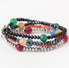 Fashion Multilayer Round Colorful Agate And Manmade Crystal Beads Stretch Bracelet