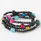 Fashion Multilayer Round Colorful Jade And Manmade Black Crystal Beaded Stretch Bracelet
