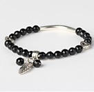 Fashion Faceted Round Black Agate And Tibet Silver Tube Heart Leaf Charm Beads Bracelet
