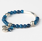 Fashion Faceted Round Blue Agate And Tibet Silver Tube Heart Charm Beads Bracelet