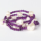 Elegant Multilayer Round Purple Jade And Irregular Seashell Beads Stretch Bracelet