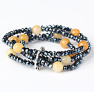 Fashion Multilayer Round Faceted Topaz And Manmade Black Crystal Beaded Stretch Bracelet