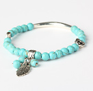 Fashion Green Turquoise And Tibet Silver Tube Heart Leaf Charm Beads Bracelet
