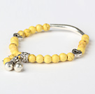 Nice Round Yellow Turquoise And Tibet Silver Tube Heart Charm Beads Bracelet