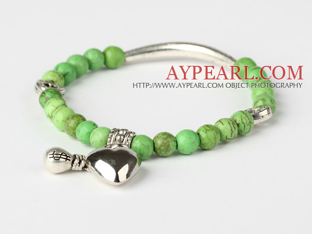 Nice Round Apple Green Turquoise And Tibet Silver Tube Heart Charm Beads Bracelet