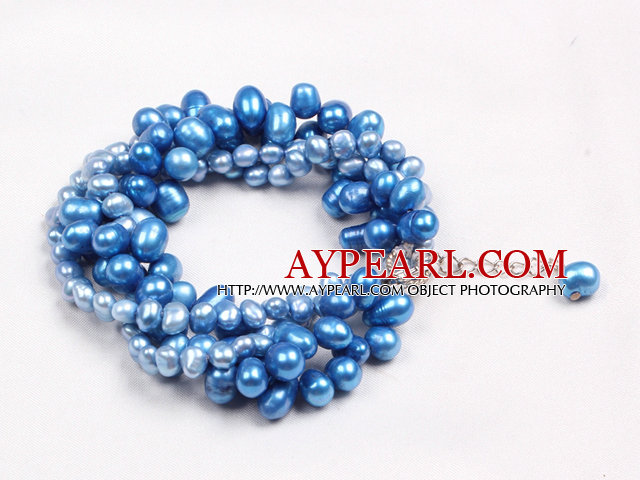 Fashion Multi Strand Natural Blue Freshwater Pearl Twisted Bracelet