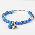 Nice Round Blue Turquoise And Tibet Silver Tube Heart Charm Beads Bracelet