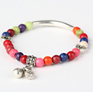 Beautiful Round Multi Colorful Turquoise And Tibet Silver Tube Heart Charm Beads Bracelet
