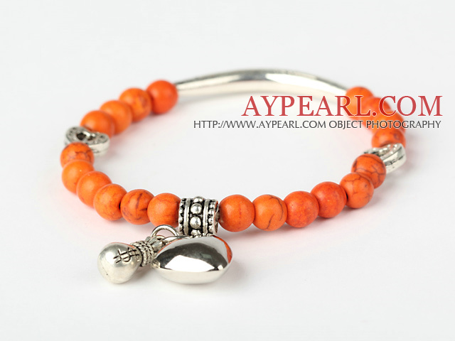 Round Orange Turquoise And Tibet Silver Tube Heart Charm Beads Bracelet