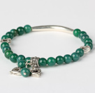 Fashion Round Green Agate And Tibet Silver Tube Heart Charm Beaded Bracelet