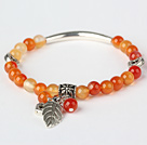 Fashion Round Red Agate And Tibet Silver Tube Heart Leaf Charm Beaded Bracelet