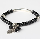 Fashion Round Black Agate And Tibet Silver Tube Heart Leaf Charm Beaded Bracelet