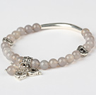 Simple Style Round Gray Agate And Tibet Silver Tube Heart Charm Beaded Bracelet