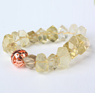 Nice Natural Incidence Angle Lemon Quartz Bangle Bracelet With Golden Ball