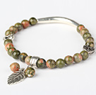Wholesale Fashion Round Green Piebald Stone and Tibet Silver Tube Heart Leaf Charm Beaded Bracelet