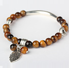 Nice Round Tiger Eye and Tibet Silver Tube Heart Leaf Charm Beaded Bracelet