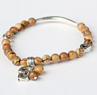 Nice Round Picture Jasper and Tibet Silver Tube Heart Charm Beaded Bracelet