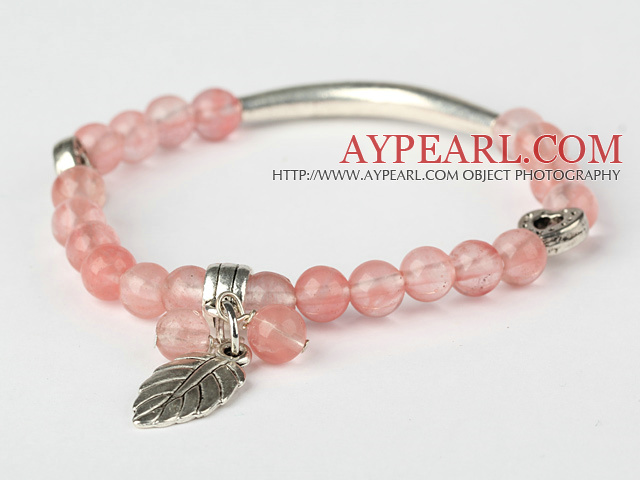 Fashion Round Cherry Quartz and Tibet Silver Tube Heart Leaf Charm Beaded Bracelet