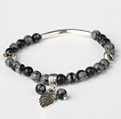 Fashion Round Black Alabaster and Tibet Silver Tube Heart Leaf Charm Beaded Bracelet