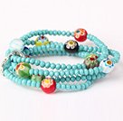 Fashion Multilayer Faceted Green Jade Crystal And Carved Colored Glaze Stretch Bracelet