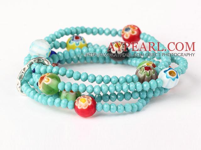 Fashion Multilayer Faceted Green Jade Crystal And Carved Colored Glaze Stretch Bracelet