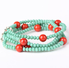 Fashion Multilayer Faceted Green Jade Crystal And Round Red Coral Stretch Bracelet