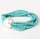 Fashion Multilayer Faceted Green Jade Crystal And Round White Seashell Beads Stretch Bracelet