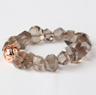 Vakker Natural Insidens Angle Smoky Quartz Bangle armbånd med Golden Ball