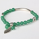 Beautiful Round Green Jade and Tibet Silver Tube Heart Leaf Charm Beads Bracelet