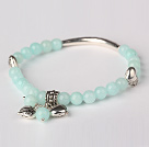 Nice Round Light Green Jade and Tibet Silver Tube Heart Charm Beaded Bracelet
