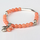 Nice Round Orange Red Jade and Tibet Silver Tube Heart Charm Beaded Bracelet